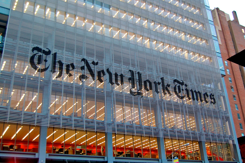 Fachada del edificio del periódico The New York Times