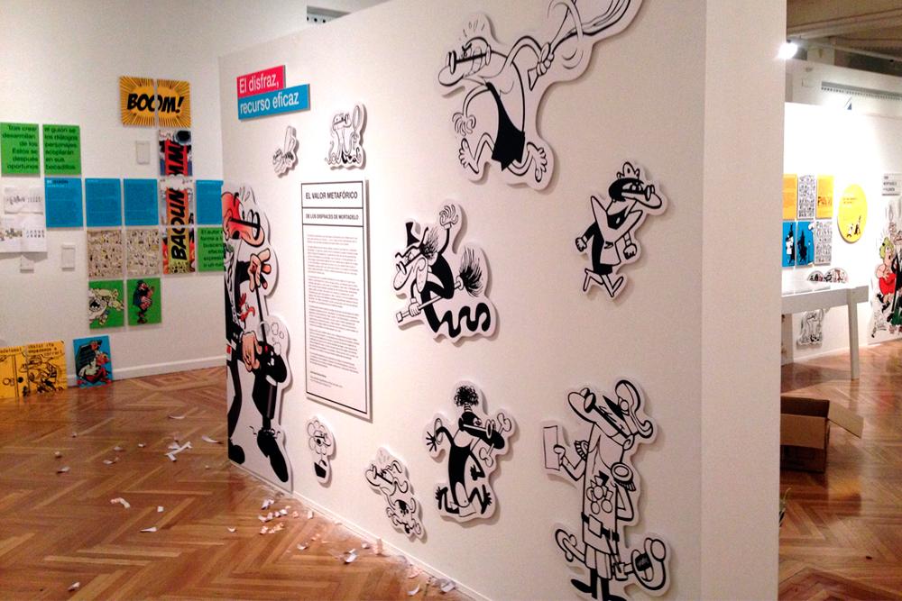 Montaje exposición Francisco Ibáñez el mago del humor. Diseño gráfico, A. Alejandro Lopez Martinez