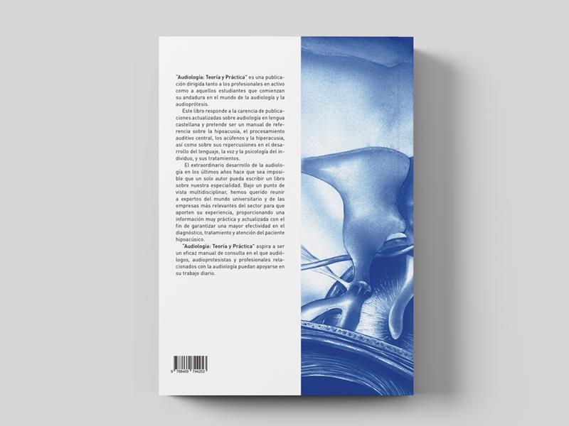 Audiologia: Teoría y Práctica. Diseño de contra portada. Diseño gráfico Alejandro Lopez